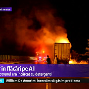 video tir in flacari pe autostrada a1