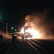 un tren de navetisti a luat foc la neptun