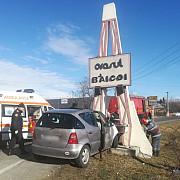 accident pe dn1 la baicoi un sofer a intrat cu masina in indicatorul de intrare in localitate