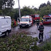 copac picat peste un autoturism cu doua persoane la campina