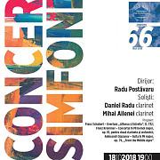concert cu doua clarinete pe scena filarmonicii paul constantinescu