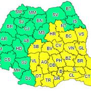 cod galben de furtuni si instabilitate atmosferica in sudul centrul si estul romaniei valabil de la ora 10 si pana maine dimineata