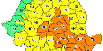 meteorologii anunta un cod portocaliu de furtuni cu vijelii si grindina valabil pentru judete din centrul si sud-estul tarii pana diseara la ora 22