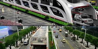 trenul stradal care merge pe deasupra masinilor