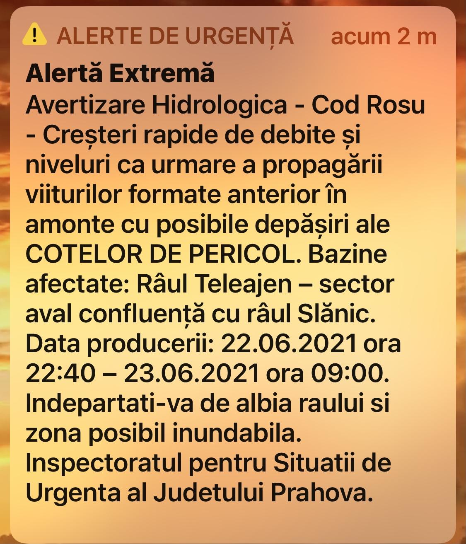 COD ROŞU de inundaţii în Prahova!